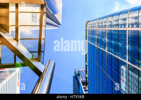 London, UK - August 30, 2016 - Office buildings in Canary Wharf, financial district of London - Stock Photo