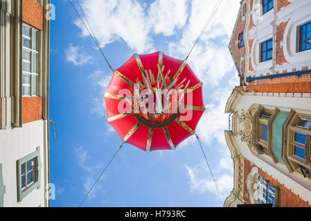 Chinatown  London, view of the underneath of a huge red lantern suspended above Gerrard Street in London's Chinatown, - Stock Photo