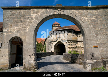 Gateway through city wall into Rothenburg ob der Tauber,medieval town, Bavaria,Germany - Stock Photo