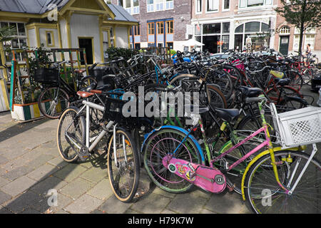 Bicycles of Amsterdam, the Netherlands - Stock Photo