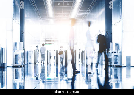 blurred motion of entrance of ticket in modern metro train station - Stock Photo