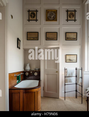 Artwork and wooden bath in 18th century Dumfries house, Ayrshire, Scotland - Stock Photo