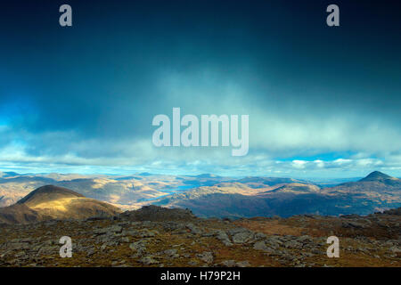 A' Chrois, Ben Lomond and the Southern Highlands from Beinn Narnain, Arrochar Alps, Loch Lomond and the Trossachs - Stock Photo