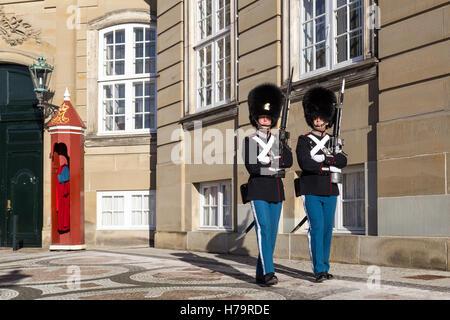 Copenhagen, Denmark - November 11, 2016: Two royal life guards at Amalienborg Palace - Stock Photo