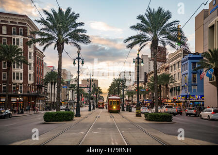NEW ORLEANS - OCTOBER 10, 2016: view of the famous Canal Street on October 10, 2016 in New Orleans, LA - Stock Photo