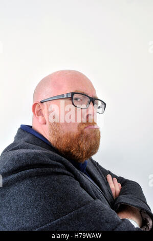 grumpy old man middle aged misery - Stock Photo