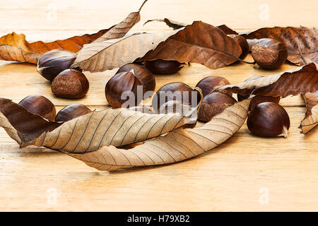 Chestnuts (Castanea sativa) and dried leaves on a wooden table - Stock Photo