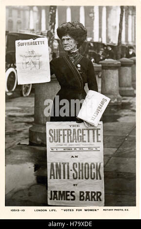 Suffragette Paper Seller, 1912 postcard of a street vendor of the newspaper edited by Christabel Pankhurst supporting - Stock Photo