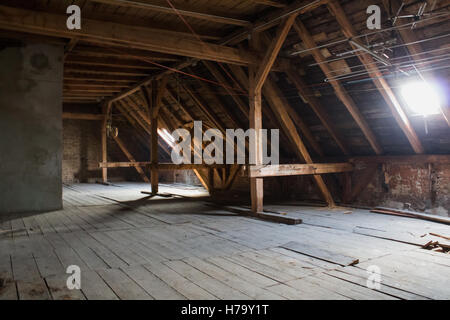 wooden beams attic wooden roof of an old building stuttgart stock photo royalty free image. Black Bedroom Furniture Sets. Home Design Ideas