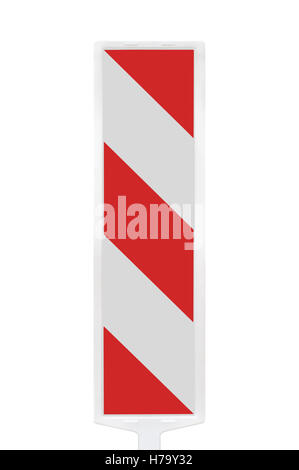 Road traffic works safety pole post barrier, vertical detour panel under construction warning sign, red, white diagonal - Stock Photo