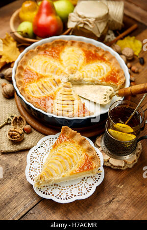 Beautiful fresh organic pear tart - Stock Photo