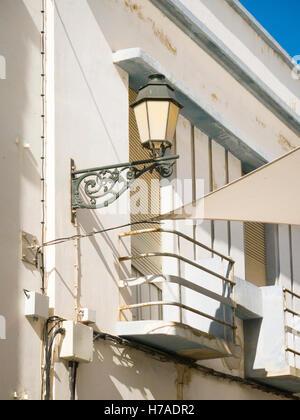 Portugal Algarve 4th c BC ancient old city port Faro typical street light lamp balcony balconies - Stock Photo