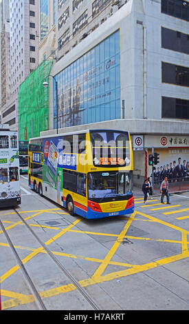 double desk bus in Des Voeux road Hong Kong island China - Stock Photo