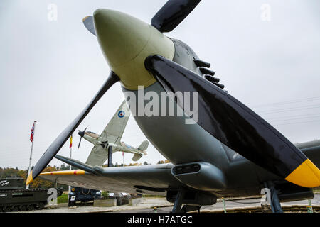A Spitfire and Hurricane on display at Eden Camp Museum, near Malton, North Yorkshire. - Stock Photo