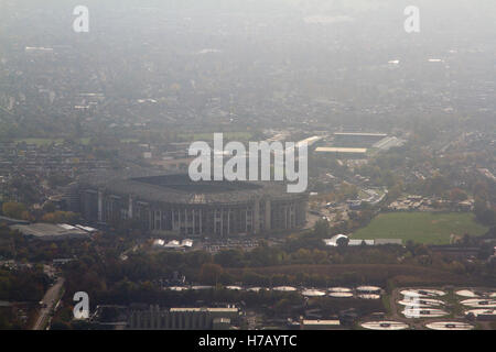 London, UK. November 3rd 2016.  A beautiful aerial view of Twickenham stadium bathed in autumn sunshine Credit: - Stock Photo