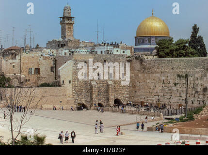 April 4, 1988 - Jerusalem, Israel - The plaza and holy ancient Western Wall, also known as The Wailing Wall or Kotel, - Stock Photo