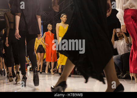 Kuala Lumpur, Malaysia. 3rd November, 2016. Models walk on the runway during the launch of a fashion collection - Stock Photo