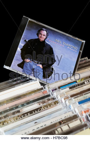 Tennessee Moon, Neil Diamond CD pulled out from among rows of other CD's - Stock Photo
