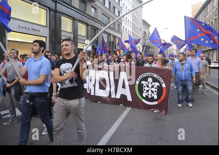 Milan, Italy, demonstration of neo-fascist group Casa Pound against the European Community - Stock Photo