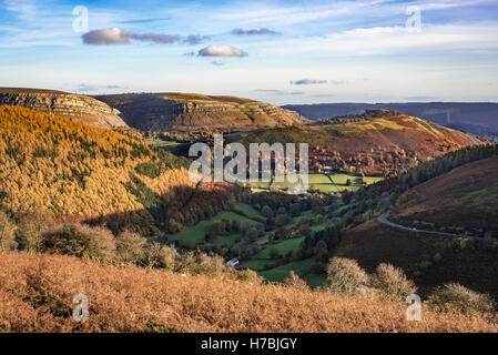 The Horseshoe Pass near  at llangollen Denbighshire North Wales looking towards the Eglwyseg mountains. - Stock Photo