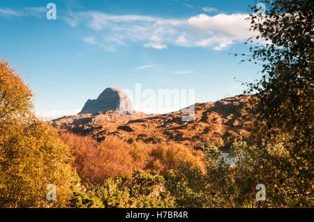 A landscape image looking across to Suilven, a mountain in Assynt, in the Scottish highlands. 22 October 2016 - Stock Photo