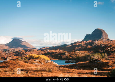A landscape image looking across to Suilven and Canisp, mountains in Assynt, in the Scottish highlands. - Stock Photo