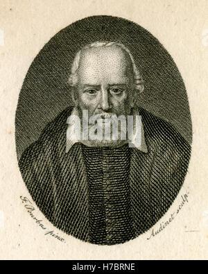 Antique 1794 engraving, George Buchanan. George Buchanan (1506-1582) was a Scottish historian and humanist scholar. - Stock Photo