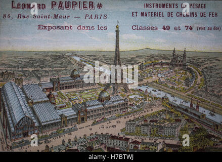 France. Paris. View of 1889 Paris World's fair, with Eiffel Tower and the Trocadero Palace. - Stock Photo