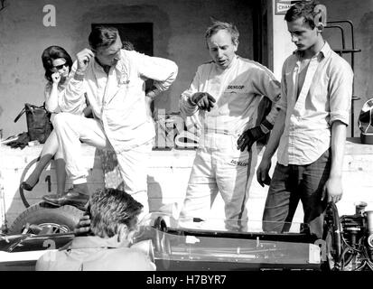 1966 John Surtees British motor racing driver designer pits Monza Italy - Stock Photo