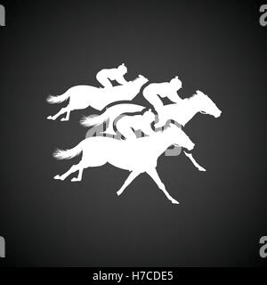 Horse ride icon. Black background with white. Vector illustration. - Stock Photo