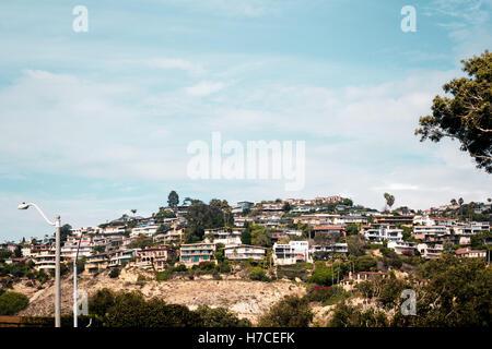Photo of Trees and buildings in Laguna Beach, California - Stock Photo