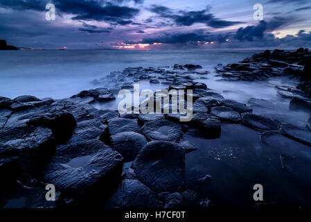 Giant's Causeway, Co. Antrim, Northern Ireland. Sunset - Stock Photo
