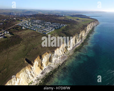 Aerial view of 'Rushy Hill', a mobile home park on the cliffs of the South Downs near Newhaven. - Stock Photo