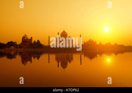 Taj Mahal from yamuna river view - Stock Photo