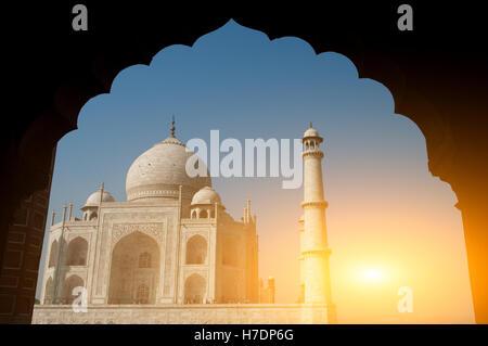 Taj Mahal archway view - Stock Photo