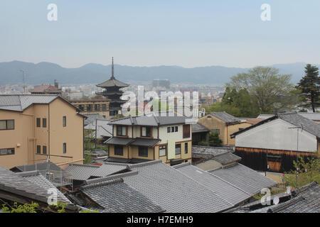 View of Kyoto city in cloudy day near the Kiyomizu-dera, Japan - Stock Photo