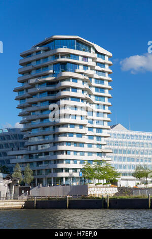 Marco Polo Residential Tower and Unilever building on Marco Polo Terrace in HafenCity, Hamburg, Germany - Stock Photo