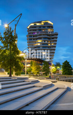 Marco Polo Residential Tower on Marco Polo Terrace in HafenCity, Hamburg, Germany - Stock Photo