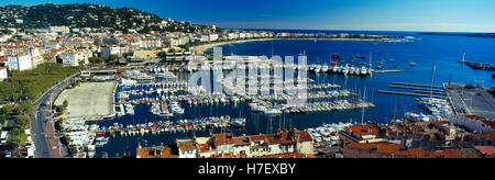 Elevated view of Cannes showing harbour and promenade, Cote d.Azur, Provence, France - Stock Photo