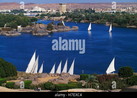 Feluccas on River Nile at Aswan, Egypt - Stock Photo