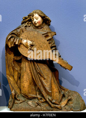 Angels Playing Viola and Lute 1490 sculpture  Middle Ages  Oberrhein - Upper Rhine German Germany - Stock Photo