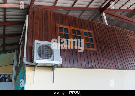 Air conditioning units installed outside the house on wooden wall - Stock Photo