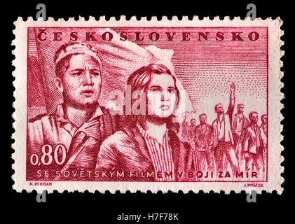 Czechoslovakian postage stamp (1951) depicting 'The Soviet Film in the Struggle for Peace' Scene from the end of - Stock Photo