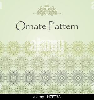 Vector pattern in Eastern style on scroll work background. Ornate element for design. Place for text. Ornamental - Stock Photo