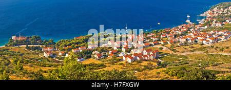 Bol on Brac island panoramic aerial view - Stock Photo