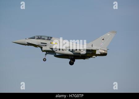 Eurofighter Typhoon T1 on final approach - Stock Photo