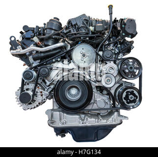 Modern heavy duty turbo diesel engine isolated on white - Stock Photo
