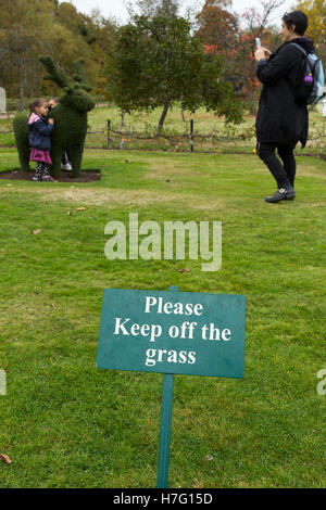 Please Keep off the grass / lawn sign, & people / tourists / tourist visitors / visitor ignoring the signs / breaking the rule.