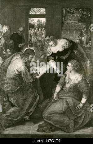 Christ in the house of Martha and Mary, painting by Tintoretto - Stock Photo