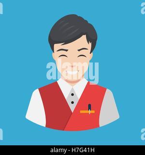 Hotel staff - Waiter Icon vector Flat design Smiling waiter serving Vector illustration - Stock Photo